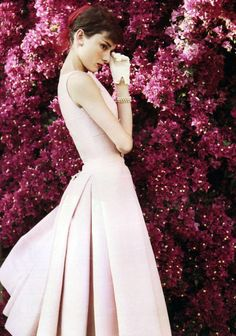 """Audrey Hepburn (on the set of """"War and Peace"""") by Norman Parkinson for US Vogue, 1955"""
