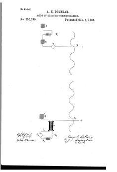 Patent US350299 -  Dolbear's electric communication - Oct 5, 1886