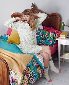 Love the bedspread and pillows...and the pjs...and the socks.
