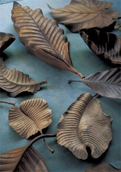 Clay Leaves Photo by Jurgen Lehl.(lots of pins on Pottery Studio board) Sculptures Céramiques, Wood Sculpture, Ceramic Pottery, Ceramic Art, Collage Kunst, Ceramic Flowers, Leaf Art, Clay Projects, Wood Design