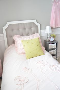 Little girl's bed Closet Organization, Organizing, Little Girl Beds, Bedroom Seating, Night Table, Girl Closet, Storage Bins, Kid Spaces, Beautiful Bedrooms