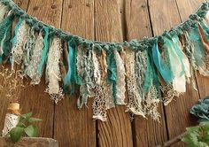 Shabby Chic Home Decor Shabby Chic Garland, Shabby Chic Crafts, Shabby Chic Homes, Shabby Chic Decor, Boho Decor, Rag Garland, Ribbon Garland, Fabric Garland, Curtain Fabric