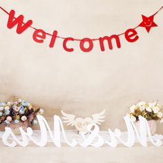 Red Welcome Paper Flag Garland Banner With Star DIY Wedding Birthday Party Shop Decoration Prop Welcome Letters, Banner Letters, Cheap Banners, Diy Wedding, Wedding Reception, Wedding Gifts, Flag Garland, Star Diy, Reception Areas