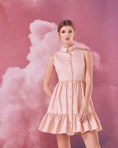 Sleeveless collared cotton-blend dress - Dusky Pink | Dresses | Ted Baker NEU