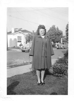 Photograph Snapshot Vintage Black and White Woman Dress Cars Road 1950'S | eBay