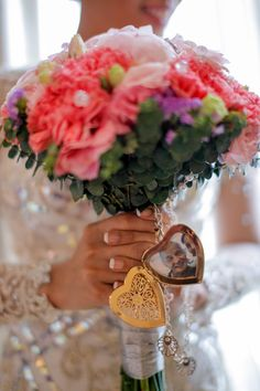 The Gold Heart Locket, Bridal Bouquet, Lolo Ato, Lolo's Girl, Personalized Bouquet, Sentimental, Beautiful