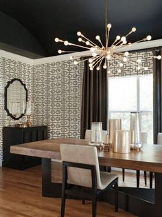 Dining room lighting: Let's fall in love with the most amazing dining room lamps that will elevate your dining room design Contemporary Dining Room Lighting, Dining Lighting, Contemporary Chandelier, Living Room Lighting, Modern Lighting, Lighting Ideas, Luxury Lighting, Lighting Design, Contemporary Desk