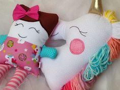 Duplinha amor: boneca + unicórnio