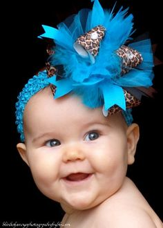 Turquoise Safari Over The Top  Bow on by loveablebabyboutique