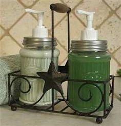 mason jar decorating | Mason Jar Kitchen Accessories -Salt & Pepper Shaker, Soap Jar