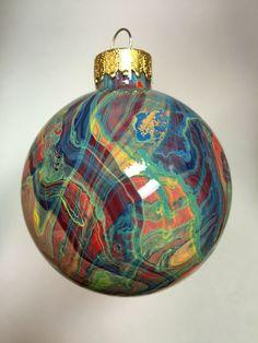 "2.6"" Artistically painted glass ornament, 3 D design, Unique gift Idea"