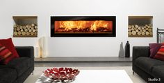 Riva Studio Edge Wood burning Fire | Stovax & Gazco, stoves, fires and fireplaces