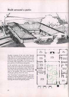 Narrow House Plans, Garage House Plans, Architect Drawing, Vintage House Plans, Box Houses, Courtyard House, When I Grow Up, Home Design Plans, Googie