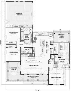 Farmhouse house plans wraparound bonus rooms ideas for 2019 Basement House Plans, Ranch House Plans, Best House Plans, Country House Plans, Small House Plans, House Floor Plans, Country Houses, Country Living, D House