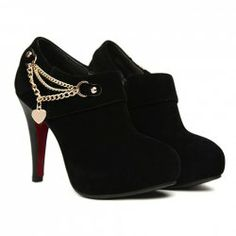 Party Women's Ankle Boots With Solid Color and Chains Design