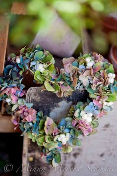 Heart Wreath of colorful hydrangea flowers