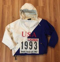 VINTAGE-RALPH-LAUREN-1992-1993-RACING-TEAM-COAT-M-STADIUM-P-WING-USA-POLO-RARE