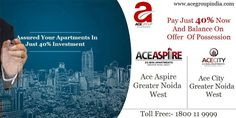 Assured Your #Apartments with #AceGroup In Best Location Of #GreaterNoidaWest With Modern Facilities And #Amenities. Just Pay Only 40% And Balance On Offer Of #Possession. See More @ http://acegroupindia.com/ace-aspire-greater-noida.html  #Apartment #Flats #RealEstate #AceGroupIndia #Property