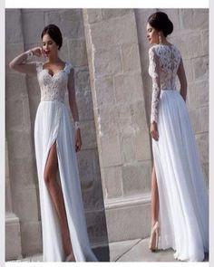 AHW005 A-line White Chiffon Lace Bodice Long Sleeve Beach Wedding Dresses 2017