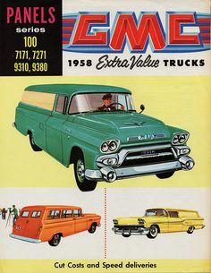 One day all mothers will drive their own delivery trucks and call them SUVs. (Funny retro truck ads)