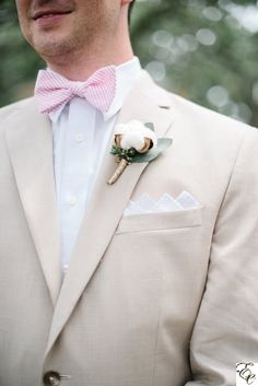 Cotton Boutonniere   Designed by Engaging Events