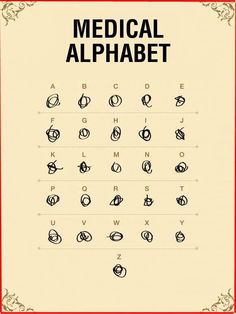 Medical Alphabet. Hahaha! I'm not sure I should live up to this stereotype