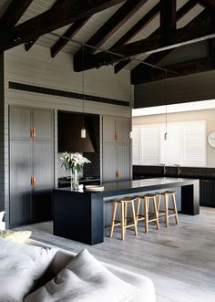 A Gorgeous New Flooring Trend We Can't Get Enough Of - gray #woodfloors ~ETS #woodbeams