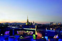 Atmosphere Rooftop Bar & Lounge features a spectacular view over the city and is the perfect setting for enjoying cocktails at sunset-Ritz-Carlton, Vienna Visit Austria, Austria Travel, Vienna Austria, Bar Lounge, Lounge Seating, Weekend City Breaks, Vienna Hotel, Rooftop Bar, Amazing Destinations