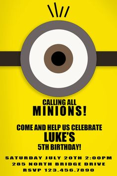 Cutest Despicable Me Invite on Etsy! So adorable!