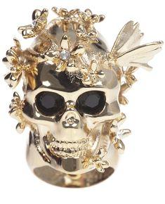 Alexander Mcqueen Skull And Cherry Blossom Ring