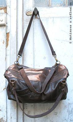 #SALES // #Leather #Lingot small #Besace #brown #shiny #paris #french @ Matières à réflexion