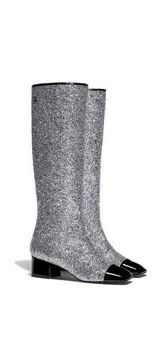 Fall-winter 2017/18 - gliterred fabric & patent calfskin-silver & black