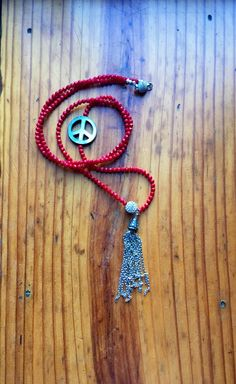 Red Coral and Silver Tassel Long Peace Necklace by BlahBlahBeads