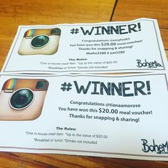 This rounds winners of a $20 meal voucher are @emyloo83 and @tianaamoroso . Come in to @bohemia_cafe to claim it. Keep snapping sharing and hash tagging your BoHo pics for your chance to win! #winnersaregrinners #boho3280 #eat3280 #destinationwarrnambool by bohemia_cafe