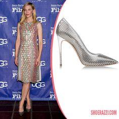 Cate Blanchett in Casadei Barbarella Silver Chain Laser-Cut Pumps - ShoeRazzi