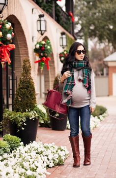 Happy September!  Here's a cute & fall winter maternity outfit with green plaid herringbone scarf, riding boots.