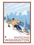 Downhhill Snow Skier, White Pass, Washington Prints by  Lantern Press