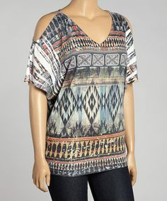 This Blue & Orange Tribal Cutout Top - Plus is perfect! #zulilyfinds