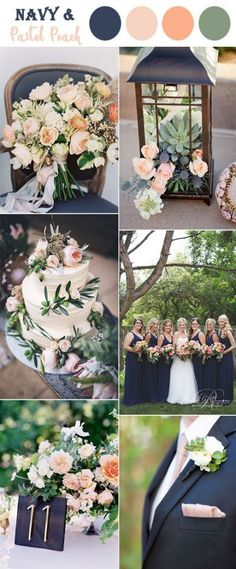 dark blue,peach and soft green garden wedding colors by wedding theme The 10 Perfect Fall Wedding Color Combos To Steal Blue Color Schemes, Wedding Color Schemes, Color Combos, Color Trends, Spring Wedding Colors, Wedding Summer, 2017 Wedding, Wedding Blue, Dress Wedding