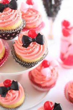 Shirley Temple Cocktail-Inspired Cupcakes #cupcakes #cupcakeideas #cupcakerecipes #food #yummy #sweet #delicious #cupcake