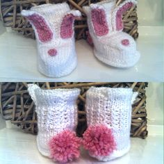 The Cutest Knitted Baby Girl Bunny Boots 06 by NannysVintageKnit, £6.00