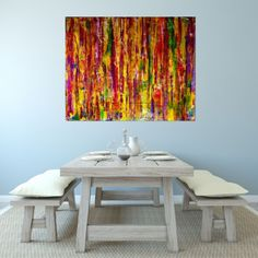 This piece is about embracing all the colors I love, predominately yellow chrome. An array of textures over gesso layered canvas using fluid translucent acrylics and iridescent mediums to make all ...