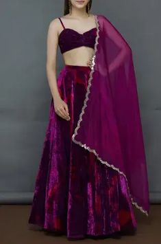 Buy Tie-Dye Velvet Lehenga Set by Akanksha Gajria at Aza Fashions Indian Gowns, Indian Attire, Indian Ethnic Wear, Indian Wedding Outfits, Indian Outfits, Velvet Dress Designs, Designer Party Wear Dresses, Lehnga Dress, Designer Bridal Lehenga
