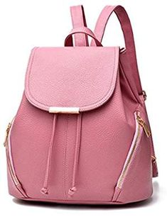 Casual Fashion School Leather Backpack Shoulder Bag Mini Backpack for Women  Girls Purse (Pink) df3a887b9a5a9