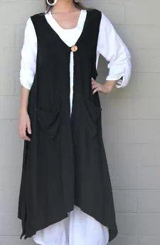 View Item: OH MY GAUZE  Cotton Lagenlook  ASPEN  Vest Long Duster Top L/XL/1X/2X/3X  BLACK