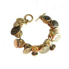 Charm Bracelet Vintage Brass Buttons Upcycled by LovesParisStudio, $28.00