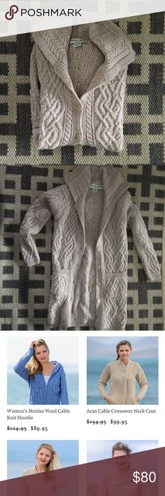 Long Soft Wool Buttoned Cozy Oatmeal Sweater Coat Size small (but could fit medium too)  Sweater Coat in a super warm and soft (not itchy) merino wool. Made by an Irish company that makes quality, beautiful sweaters and other clothing. This is a sweater material but could be worn as a fall out wear piece.  Excellent condition. No issues to note. This cozy sweater has pockets! Feel free to make a reasonable offer using the offer button. Bundle and auto save 20% off 2+ items. Bundle your…