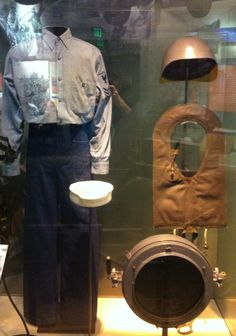 U.S. Navy Sailor's uniform, World War II period (photo taken at the Smithsonian American History Museum, February 2013). My grandfather went into the Navy at the age of 15 upon lying about his age. This is sailor's fatigue clothing that every seaman would have been issued upon entering the service.