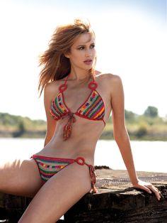 Alexia Fast, Crochet Aztec Stripe bikini by Anna Kosturova Crochet Lingerie, Crochet Bikini, Monokini, Hot Bikini, Bikini Tops, Crochet Bathing Suits, Striped Bikini, Aztec Bikini, Crochet Woman