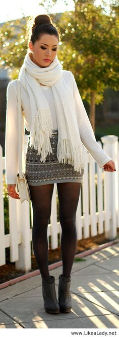 Simply adorable- except the skirt should end right above the knee- keep it classy